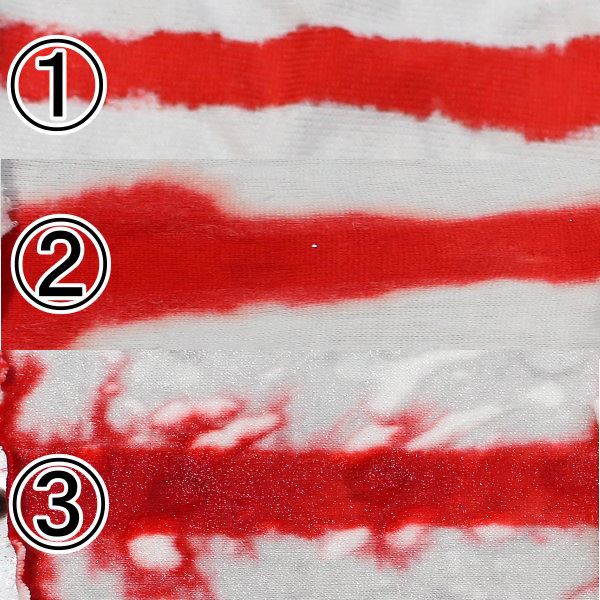 固着液の浸透度による染め具合の違い