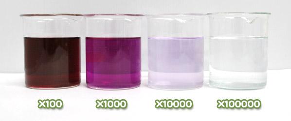 ムラサキイモ色素・ハイレッドV80の水溶希釈例(100倍~10万倍)